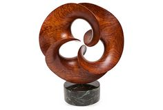 Exquisite bubinga wood sculpture with a green marble base. Sculpture sits up high. It has a smooth surface and can be removed from its base. Abstract Sculpture, Wood Sculpture, Wood Carving Designs, Plastic Art, Wooden Art, Ceramic Art, Art Object, Wood Crafts, Sculpting