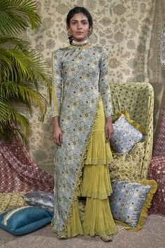 Buy Printed asymmetric kurta sharara set by Ridhima Bhasin at Aza Fashions Designer Party Wear Dresses, Kurti Designs Party Wear, Indian Designer Outfits, Salwar Designs, Sleeves Designs For Dresses, Dress Neck Designs, Stylish Dresses, Nice Dresses, Fashion Dresses