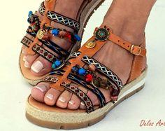 "Boho Sandals, ""DIONE"" summer shoes, Handmade Sandals, Greek Sandals, brown sandals, hippie sandals, Bohemian sandals"