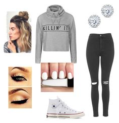 """Lazy day"" by callie-10 on Polyvore featuring Topshop, Ally Fashion, Converse and Kobelli"