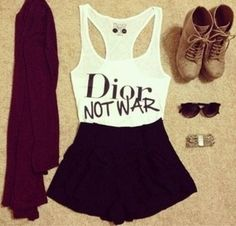 Dior not War- outfit Casual Outfits For Teens, Teenage Outfits, Teen Girl Outfits, Summer Outfits, Teenage Clothing, Teen Dresses, Hipster Fashion, Look Fashion, Teen Fashion