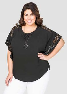 #FashionVault #ashley stewart #Women #Tops - Check this : Lace Trim Poncho Top for $25.99 usd