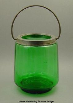 Vintage Antique Victorian Era Green Optic Glass Biscuit Cracker Jar Barrel