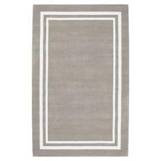 Decorator Border Rug, 8x10, Warm Gray
