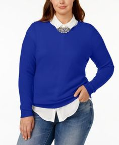 Charter Club Plus Size Cashmere Crew-Neck Sweater, Created for Macy's - Black 1X