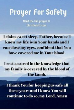 Prayer for safety & protection Prayer Scriptures, Bible Prayers, Catholic Prayers, God Prayer, Power Of Prayer, Daily Prayer, Prayer Quotes, Prayer Room, Faith Quotes