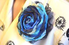 Купить Брошь Синяя с голубым. - синий, брошь, брошь цветок, брошка, брошь-цветок
