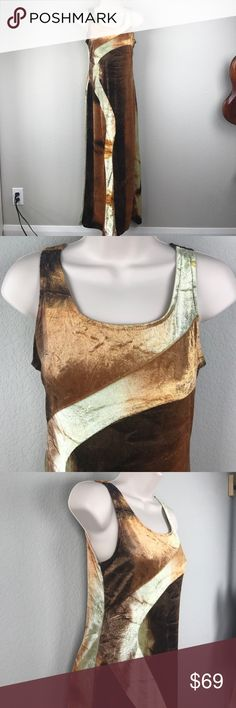 Vintage crushed velvet sleeveless maxi tank dress Vintage crushed velvet orange/gold/chartreuse/brown sleeveless tank dress that pulls over the head and is super stretchy since it is 88% nylon. Turn every head in town. Great vintage condition, made in the USA Vintage Dresses