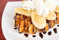 Gofres con Plátano, Chocolate y Nata