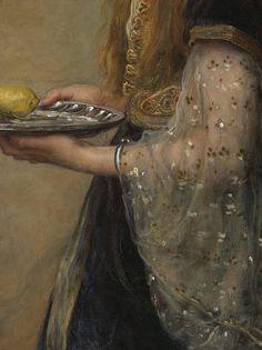 The captive by John Everett Millais, 1882 (detail).