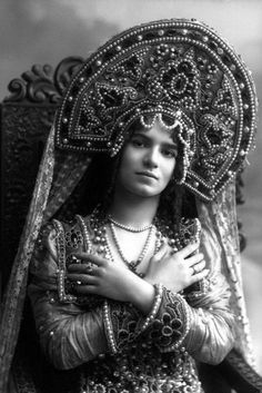 Russian costume, old photo. Gina Cormani, a British ballerina, as a Russian Noblewoman in 'The Dance Dream', 1911.