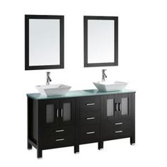 Virtu USA Bradford 60 in. Double Basin Vanity in Espresso with Glass Vanity Top and Mirror-MD-4305G at The Home Depot