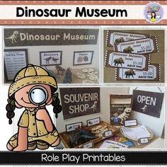 Dinosaur Museum & Shop Dramatic Play by Fairy Poppins Dino Museum, Dinosaur Museum, Dinosaur Park, Dinosaurs Preschool, Preschool Activities, Kindergarten Themes, Poppins, Pretend Play, Role Play