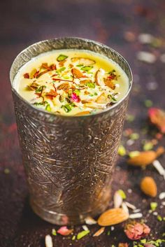 This Indian Kesar Badam Milk is loaded with goodness of almonds and saffron and is a treat to sip on. Check out this super easy to make it at home and enjoy it either chilled or hot. Here is how to make kesar badam milk. Yummy Drinks, Healthy Drinks, Yummy Food, Healthy Milk, Milk Recipes, Vegetarian Recipes, Cooking Recipes, Sweets Recipes, Badam Milk Recipe