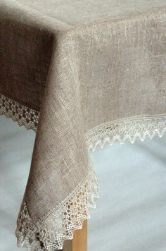 Linen Tablecloth Square Tablecloth Burlap Tablecloth Rustic Tablecloth Washed Linen Lace x Tischdecke duk nappe bordduk テーブルクロス Burlap Tablecloth, Tablecloth Ideas, Sewing Hacks, Sewing Crafts, Lace Table Runners, Linen Towels, Sewing Techniques, Homemade Home Decor, Burlap Crafts