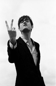 """Pulp Photographer: Steve Double - courtesy of Rockarchive UK Location: Townhouse Studios London Date: Aug 1995 """"This was for an NME piece on favourite films. Jarvis, being the grim Northern lad that he is, chose Kes by Barry Hines set in his hometown of Sheffield. The poster of the film has the young..."""