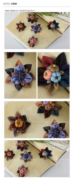 엄마옷,엄마선물,40대여성의류,50대여성의류,생활한복,법복,한복,신상7%할인 Fabric Ribbon, Fabric Paper, Fabric Flowers, Fabric Jewelry, Flowers In Hair, Hair Pins, Diy And Crafts, Handmade Jewelry, Quilts