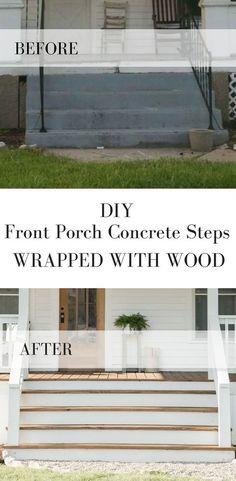 How to Cover Concrete Steps with Wood Wie man Betonstufen der Veranda mit Holz bedeckt Concrete Front Porch, Front Porch Steps, Small Front Porches, Concrete Stairs, Front Deck, Front Yards, Porch Wood, Porch With Steps, Front Porch Design