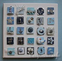 Maritime Crafts - Summer Canvas Picture with Inchies - Maritime Theme (DIY guide) Sea Crafts, Seashell Crafts, Diy And Crafts, Arts And Crafts, Paper Crafts, Inchies, Candy Cards, Shell Art, Canvas Crafts