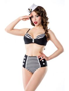 980ee73e0153d Maillot de Bain 2 pièces Bikini Rétro Pin-Up Rockabilly Rayé - Belsira  Venus-