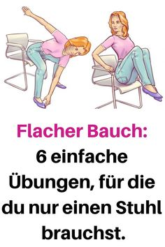 Flat Belly: 6 simple exercises that require only one chair. Flat Belly: 6 simple exercises that require only one chair. Pilates Training, Pilates Workout, Fitness Workouts, Le Pilates, Tips Fitness, Easy Workouts, At Home Workouts, Health Fitness, Pilates Fitness