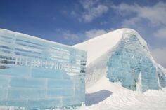 the ice pallet by toshihiko shibuya at the ice hills hotel, in sweden hills of tobetsu, japan