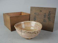 IB152 JAPANESE OLD HAGI WARE CERAMIC CHAWAN TEA BOWL REPAIRED BOX Sold for $468.00