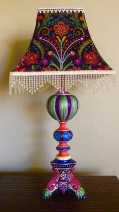 Bohemian Table Lamp- Old metal lamp I hand painted and jewelled with handmade matching shade.  Created by Luanna Dawson