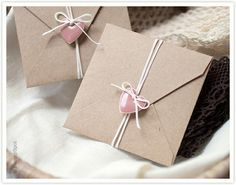 packaging envelop with string and heart