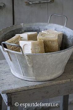 Antique laundry bucket with French hand made soap.
