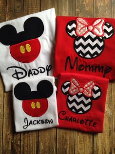 Family Disney Shirt Set - Set of 4 Family Disney Shirts - Minnie and Mickey Inspired - Perfect for a Family Vacation to Disney Disney Vacation Shirts, Disney Shirts For Family, Disney Family, Disney Vacations, Disney Trips, Summer Vacations, Disney 2017, Disney Love, Disney Magic