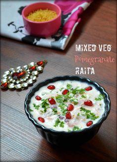 Mixed vegetable Pomegranate Raita/Pachadi  http://www.upala.net/2016/07/mixed-vegetable-pomegranate-raitapachadi.html#more