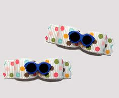 """#T9105 - 3/8"""" Dog Bow - Cool Blue Shades, Multi Color Dots"""