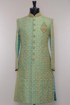 off green emroidered sherwani Wedding Outfits For Groom, Wedding Dress Men, Indian Wedding Outfits, Bridal Outfits, Wedding Suits, Indian Outfits, Indian Weddings, Indian Dresses, Wedding Couples