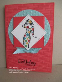 Birthday Card - using Stampin' Up Beautiful You stamp set, Stitched Shape Framelits, Cherry on Top DSP (retired), Carried Away DSP, Decorative Dots Embossing Folder (retired). Colours are Watermelon Wonder, Pool Party and Whisper White.