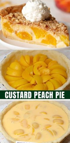 Custard Pie Recipe Easy, Peach Custard Pies, Best Peach Pie Recipe, Peach Tart Recipes, Easy Peach Pie, Custard Recipes, Sweets Recipes, Easy Desserts, Baking Recipes