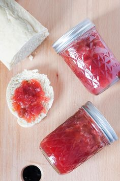 Low sugar strawberry rhubarb jam is an easy way to preserve summer flavors for gifting or year-round enjoyment. Recipe on GoodieGodmother.com