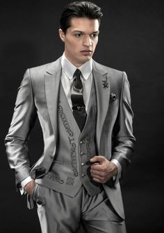 Cheap tuxedo romper, Buy Quality suit accessories directly from China tuxedo suit Suppliers: New Arrival Italian Silver Men Tuxedos Embroidery Wedding Suits For Men Notched Lapel Groomsmen Suit 3 Pieces Men Suits Slim Casual Groomsmen, Groomsmen Suits, Groom Tuxedo, Tuxedo For Men, Wedding Men, Wedding Suits, Wedding Foods, Wedding Dinner, Prom Blazers