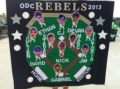 Baseball banner - made the baseball diamond and the players as bobble heads. It was a hit!
