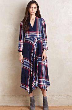 NEW Anthropologie Isabella Sinclair blue Tartan Surplice Plaid Midi Dress M $158 #IsabellaSinclair #plaiddress #versatile