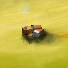 Sleeping Fox, Images Minecraft, France, Art, Cute Fox, Sandbox, Drawing Drawing, Art Background, Kunst