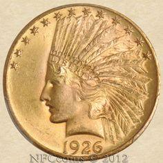 1926 Ten Dollar Gold Indian MS65 PCGS, obverse