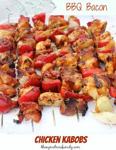 Are you in need of the perfect chicken recipe for your barbecue? Look no further because these BBQ Bacon Chicken Kabobs are going to knock your socks off! Grilled Chicken Kabobs, Chicken Bacon, Chicken Recipes, Bbq Chicken, Grilled Food, Chicken Skewers, Turkey Recipes, Grilling Recipes, Cooking Recipes