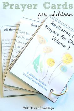 Prayer Cards for Children {free printable!} from Wildflower Ramblings God Prayer, Prayer Cards, Bible Lessons, Lessons For Kids, Printable Cards, Free Printables, Prayers For Children, Bible Teachings, Religious Education
