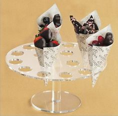 16 Holes Clear Acrylic Round ice cream Cake Candy Display Stand For Wedding #Unbranded