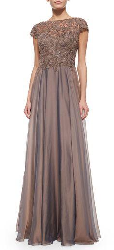 La Femme Cap-Sleeve Lace-Bodice Flowy Gown $400 at Nieman Marcus