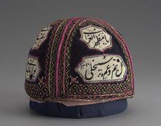 Dervish cap with inscriptions Persian Qajar Dynasty Object Place: Iran Qajar Dynasty, Persian Motifs, Iranian Art, Purple Velvet, Central Asia, China Fashion, Gypsy Style, Headgear, Wood Art