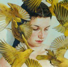 İnsan, Çiçek Ve Kuş Temalı Yağlıboya Çalışmaları | mimarimedya