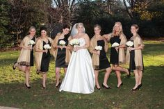 Bridesmaids in Black and Champaign Shaws