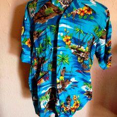 Vintage 50s Aloha Hawaiian Holiday Large Turquoise Tiki Hut Spear Fishing Shirt #HawaiianHoliday #Hawaiian